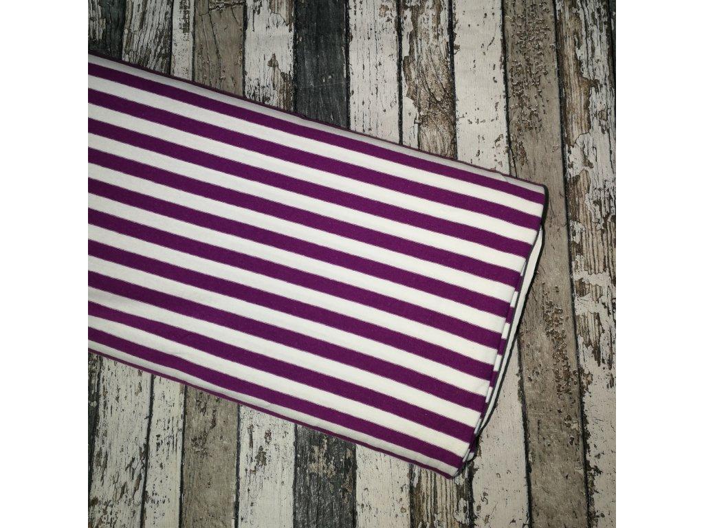 Úplet, fialové pruhy na bílé