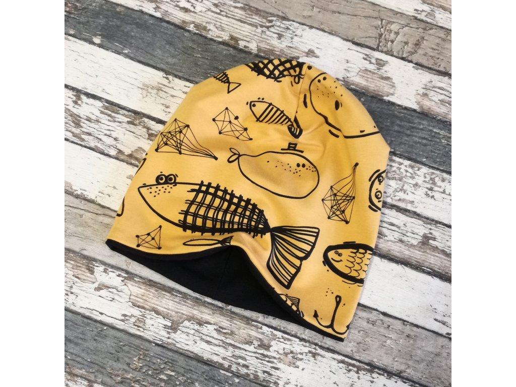 Šmoulí čepička Yháček, oboustranná, Ryby na hořčici