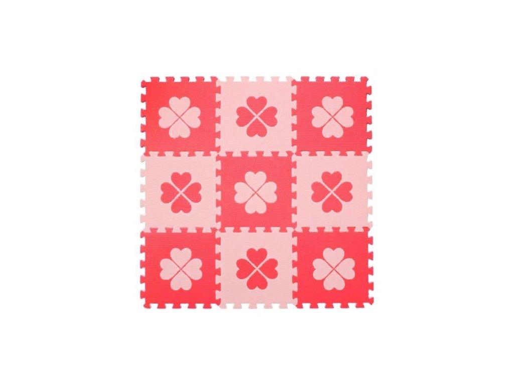 Pěnové BABY puzzle Růžové čtyřlístky, 9 ks
