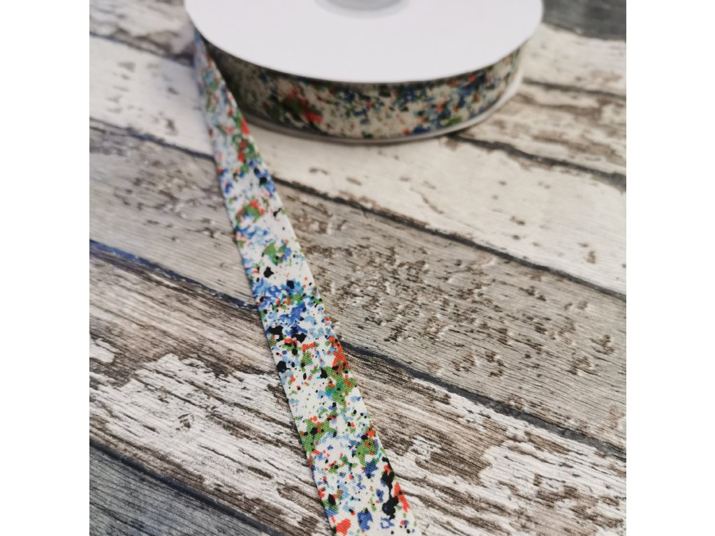 Bavlněný šikmý proužek, barevné kaňky