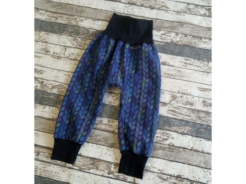 Zimní softshellové kalhoty Yháček, modré lístky