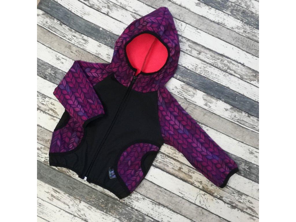 Softshellová bunda Yháček, zimní, fialové lístky
