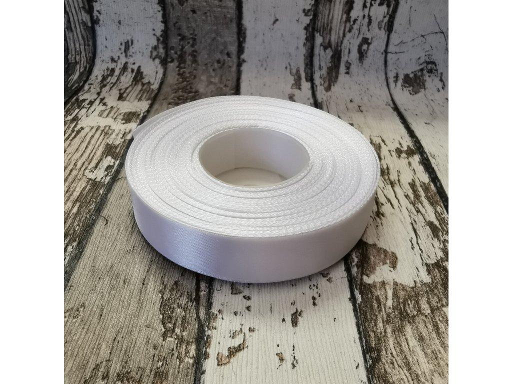 Stuha jednobarevná, bílá, 18 mm