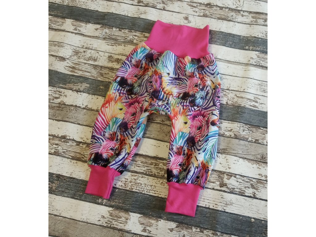 Zimní softshellové kalhoty Yháček, barevné zebry