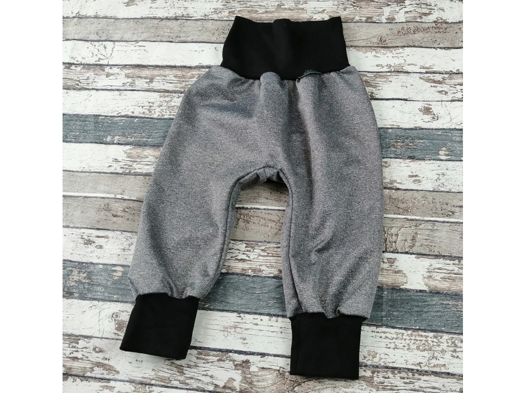 Softshellové kalhoty Yháček, letní, šedý melír/černá