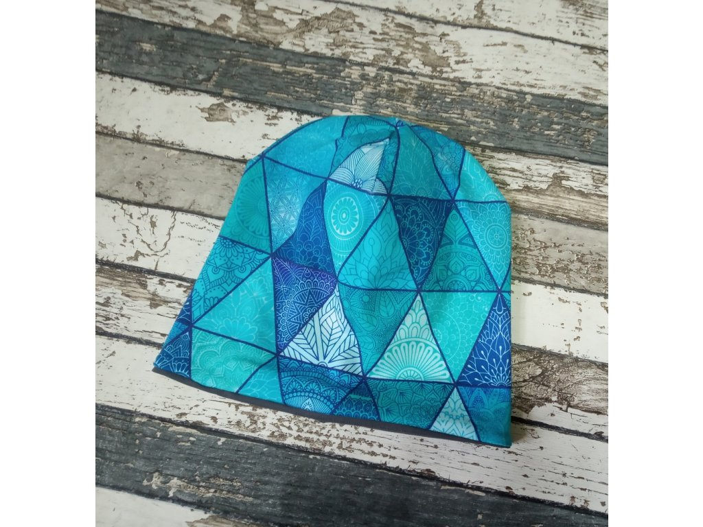 Šmoulí čepička Yháček, oboustranná, Fantasy trojúhelník modrý