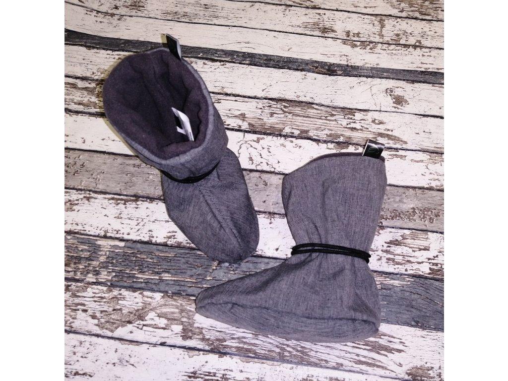 Nosicí botičky - válenky Yháček, flís, šedé žíhané