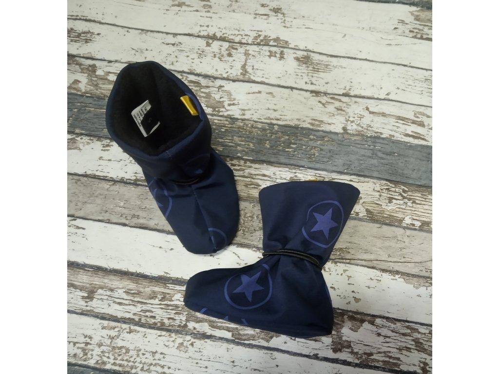 Nosicí botičky - válenky Yháček, flís, hvězdy v kolečku na tmavě modré