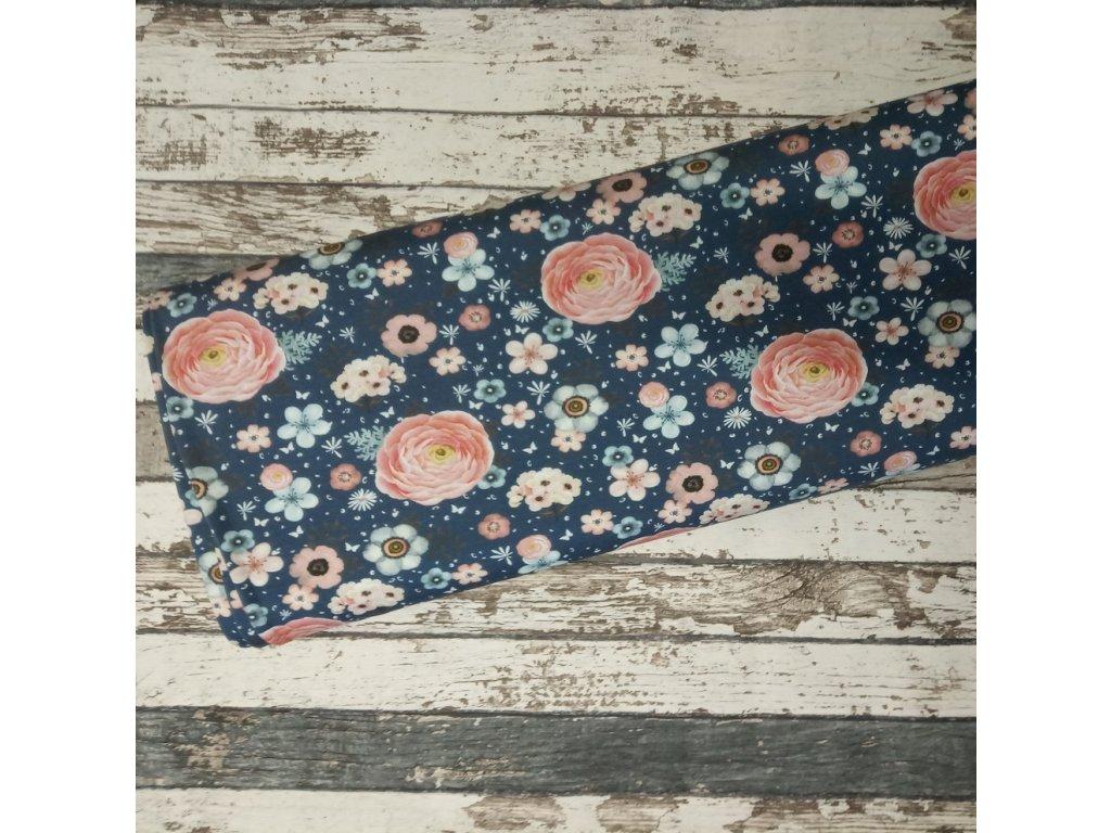 Úplet Růžičky na džínově modré