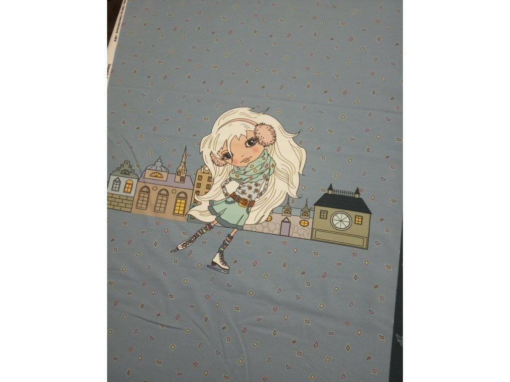 Panel - teplákovina, dívka na bruslích