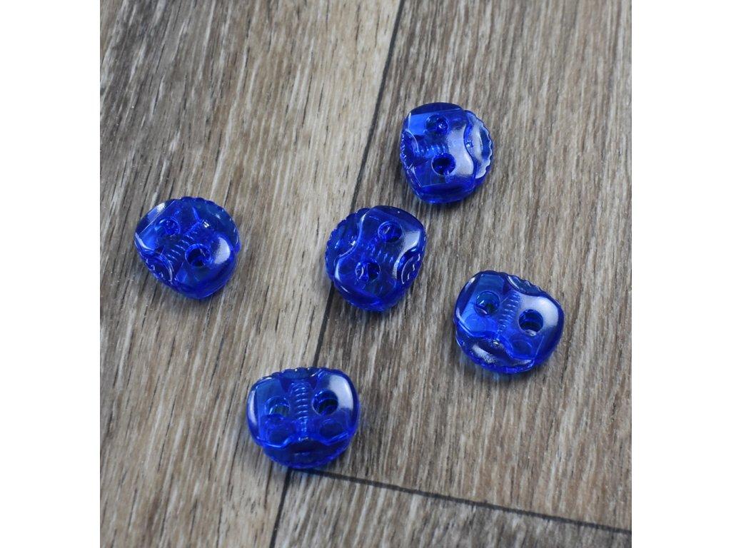 Brzdička velká, dvě dírky, modrá průhledná