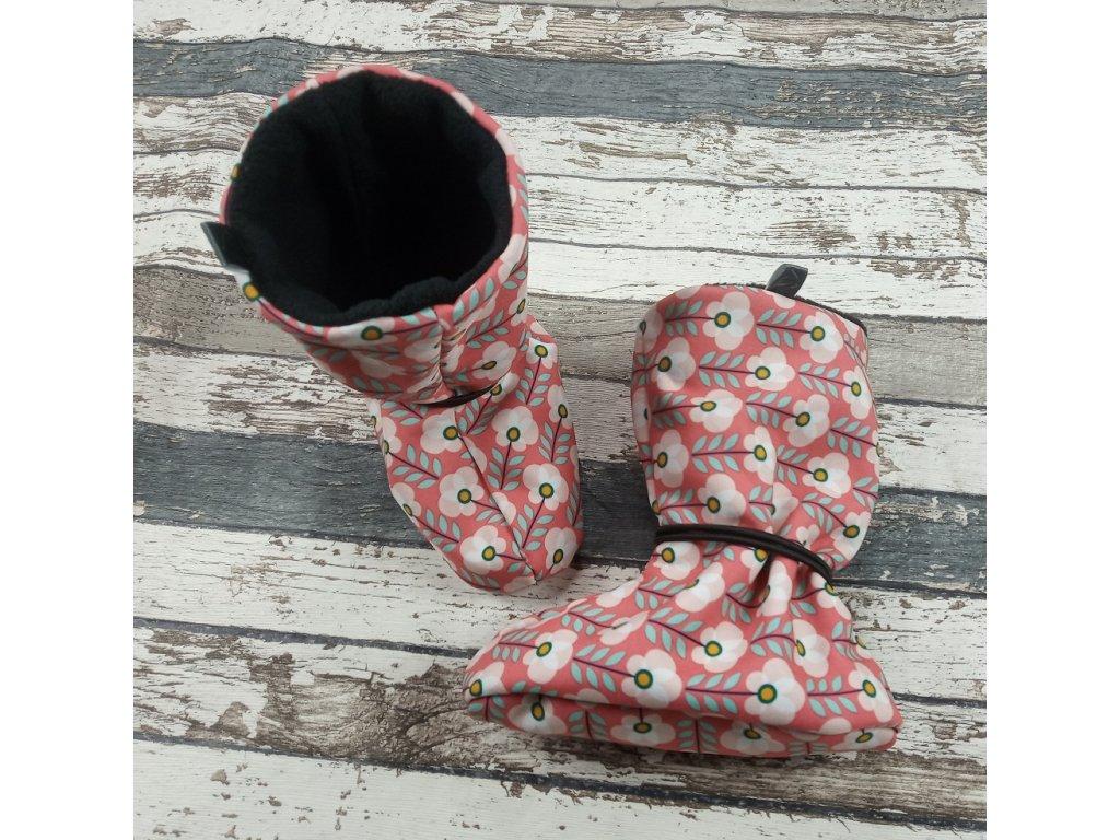 Nosicí botičky - válenky Yháček, flís černý, kytičky
