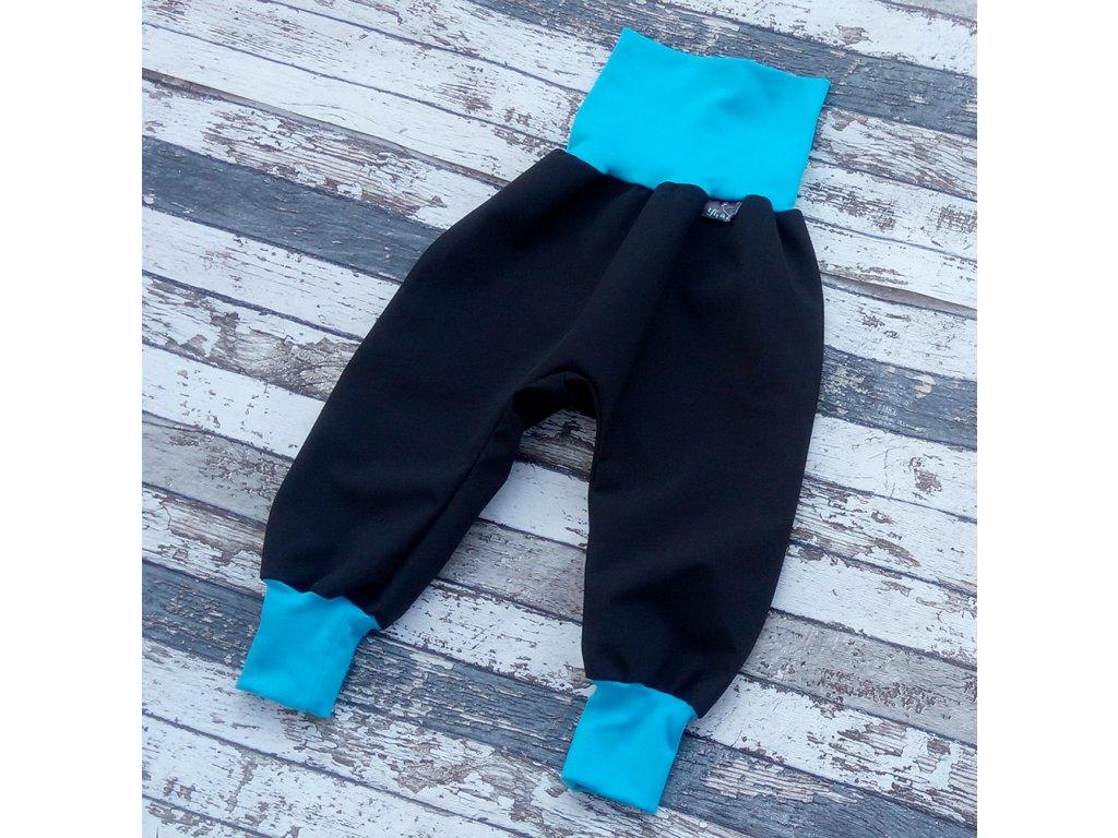 Softshellové kalhoty Yháček, letní, černá/tyrkys