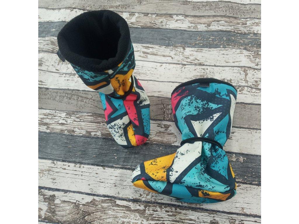 Nosicí botičky - válenky Yháček, flís, graffiti