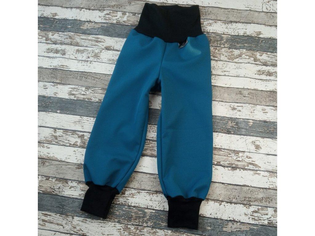 Softshellové kalhoty Yháček, zimní, tmavý petrolej/černá