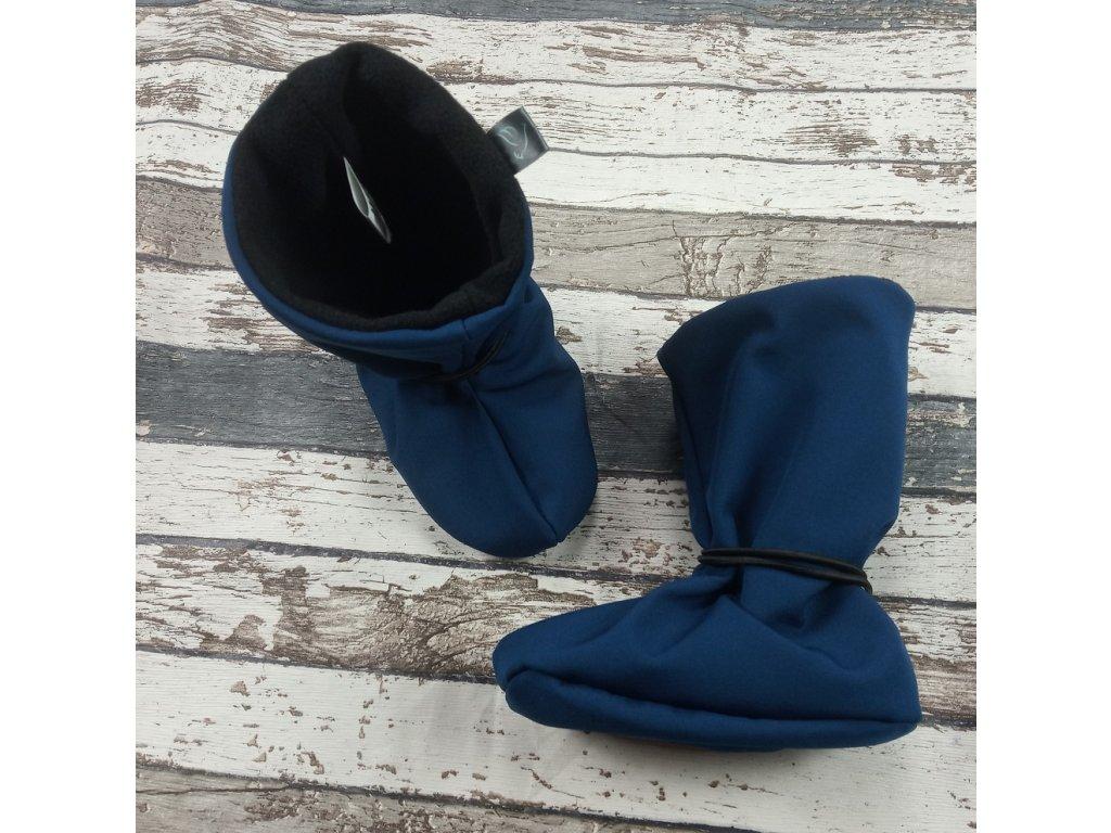 Nosicí botičky - válenky Yháček, černý flís, petrolejové