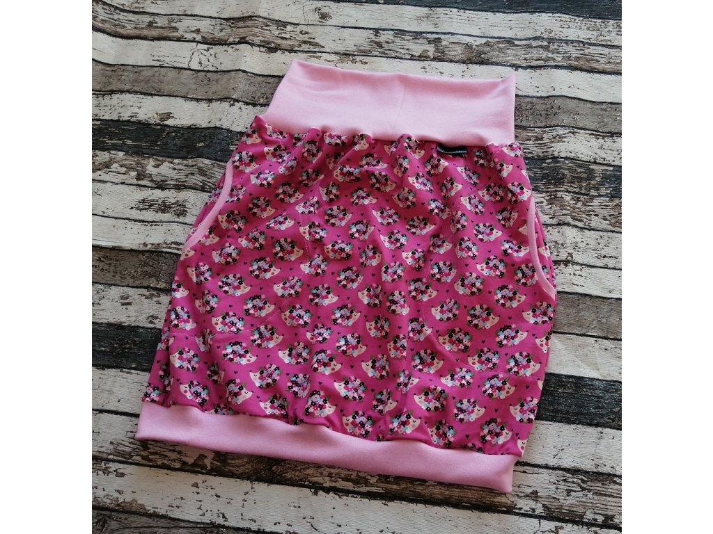 Sukně dámská Yháček, máma, ježek na růžové
