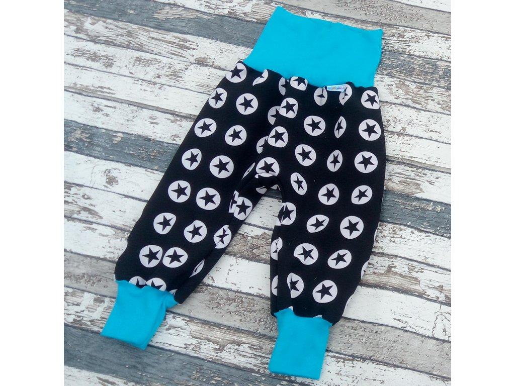 Zimní softshellové kalhoty Yháček, hvězdy na černé/tyrkys