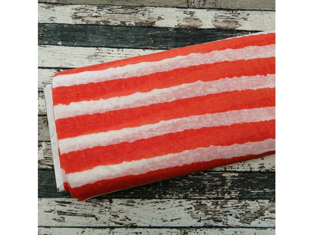 Letní pletenina, oranžové pruhy