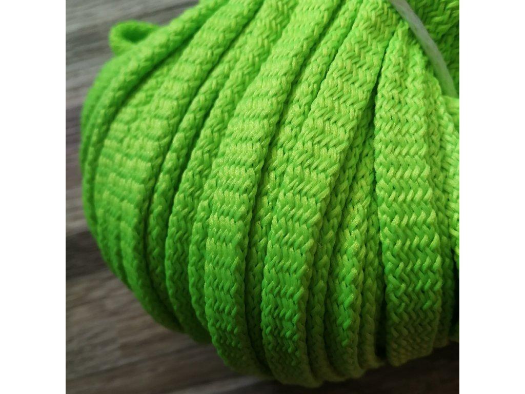 Šňůra plochá, neon zelená, 12 mm