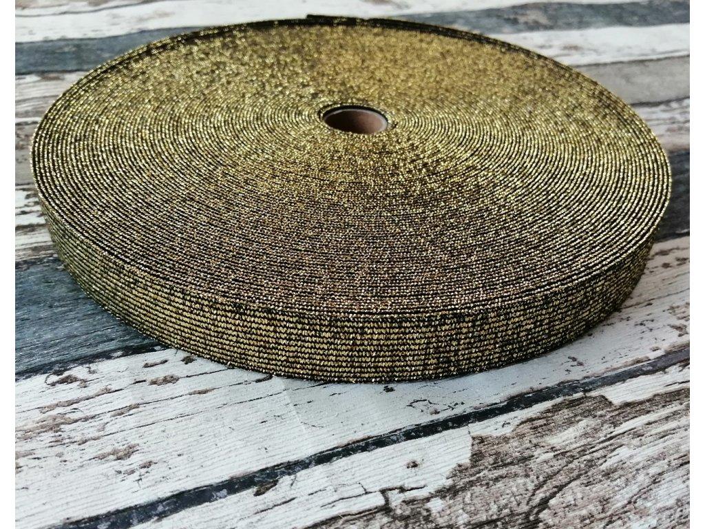 Hladká pruženka 20 mm zlatá na černé