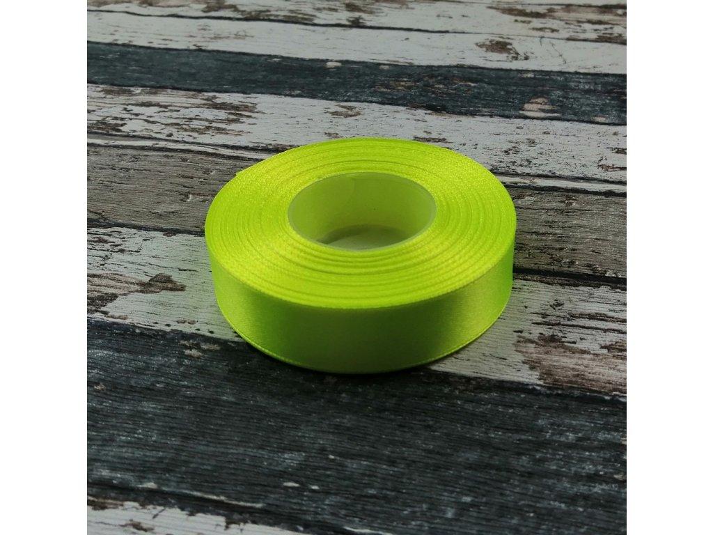 Stuha jednobarevná, neonově žlutá, 18 mm