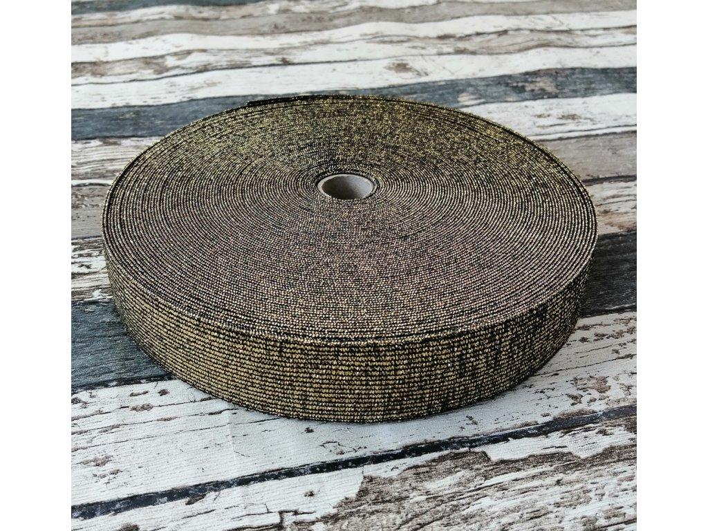 Hladká pruženka 30 mm zlatá na černé