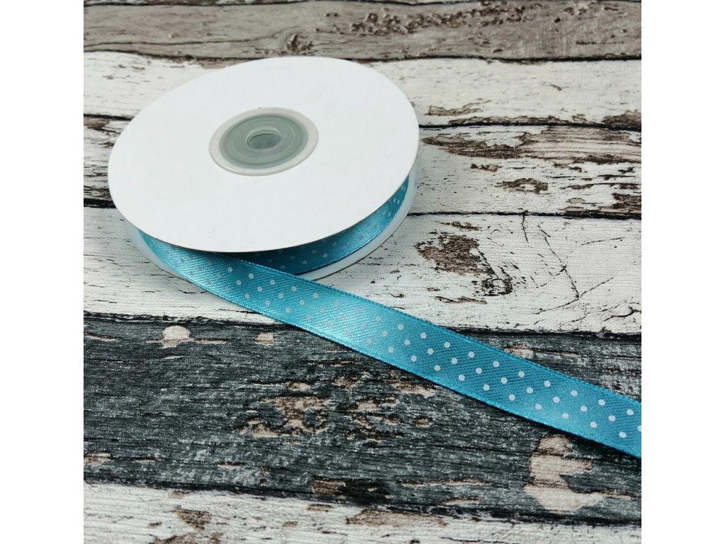 Stuha puntík, 12 mm, světle modrá