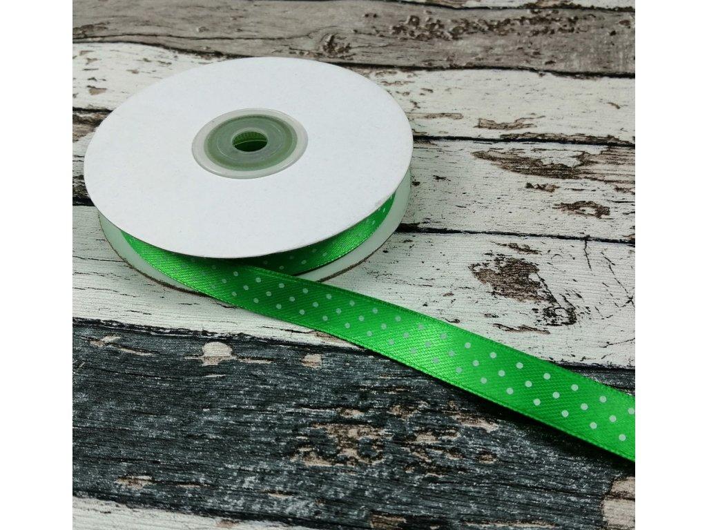 Stuha puntík, 12 mm, zelená