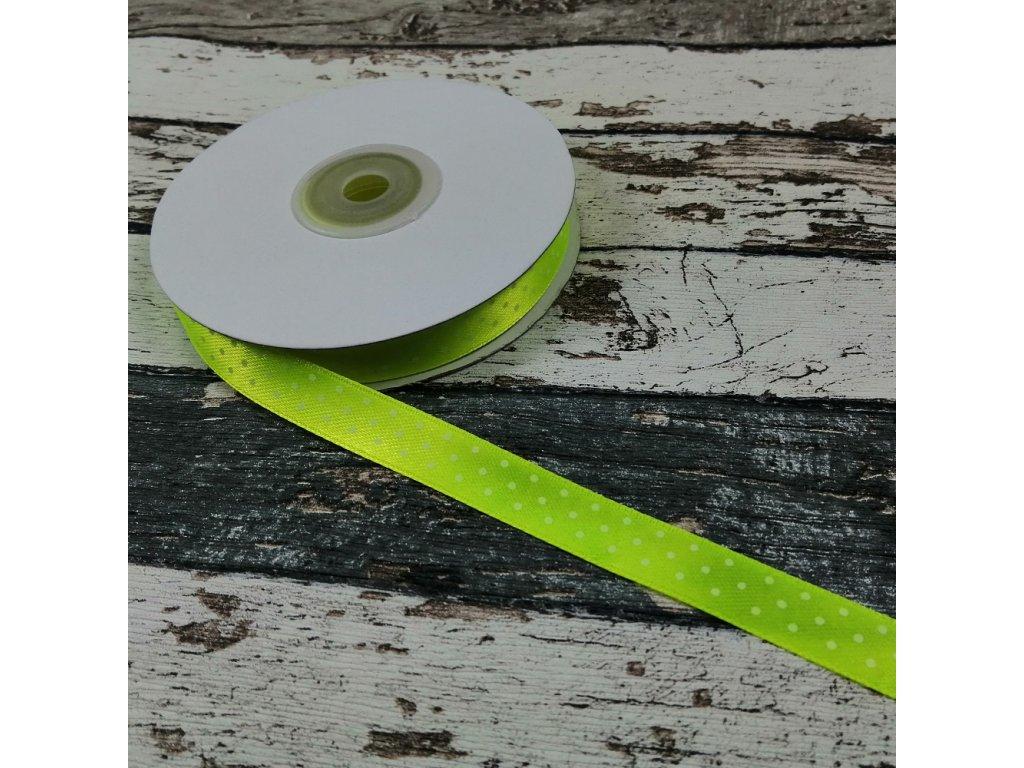Stuha puntík, 12 mm, žlutý neon