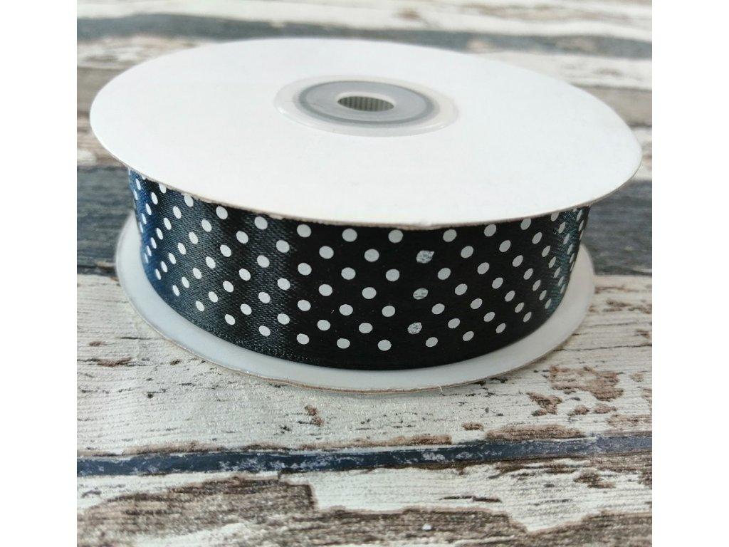 Stuha puntík, 25 mm, černá