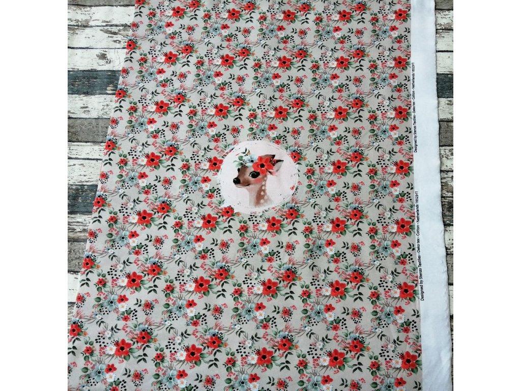 Panel - srnečka a červené květy na světlém podkladu