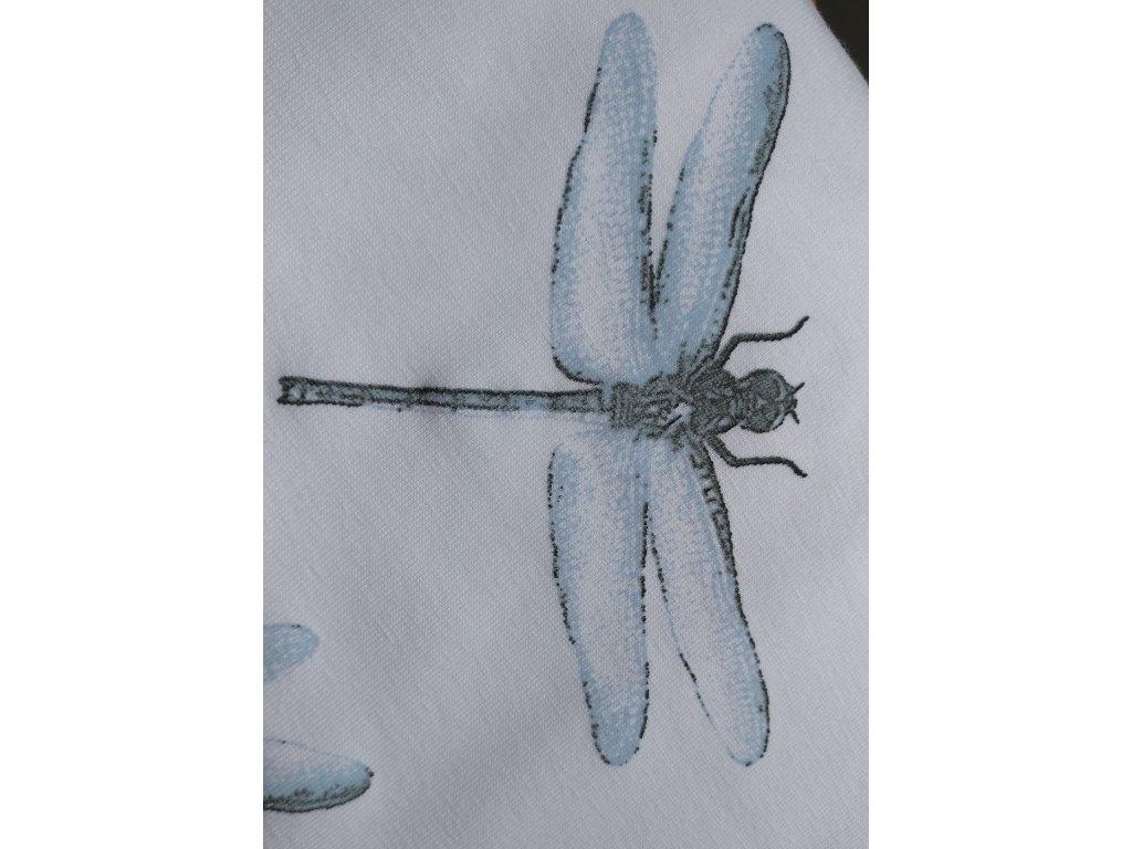 UV úplet, vážky modré na ecru
