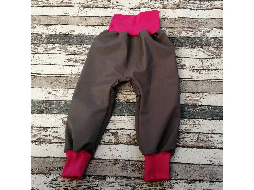 Softshellové kalhoty Yháček, letní, šedé/fuchsiové