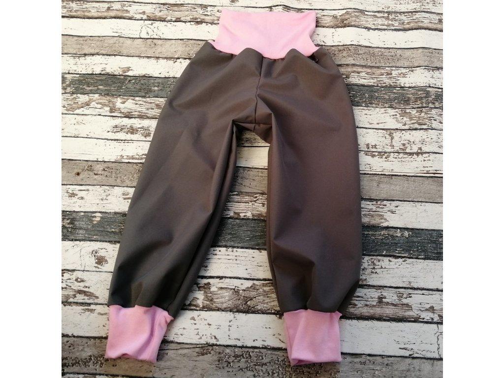 Softshellové kalhoty Yháček, letní, šedé/světle růžové