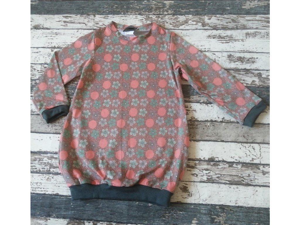 Balónové šaty Yháček, květinky a puntíky starorůžové