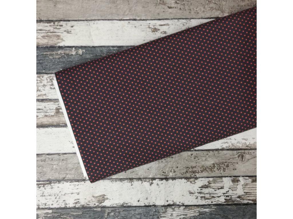 Úplet puntíky drobné, oranžové na šedé 054, 43 cm