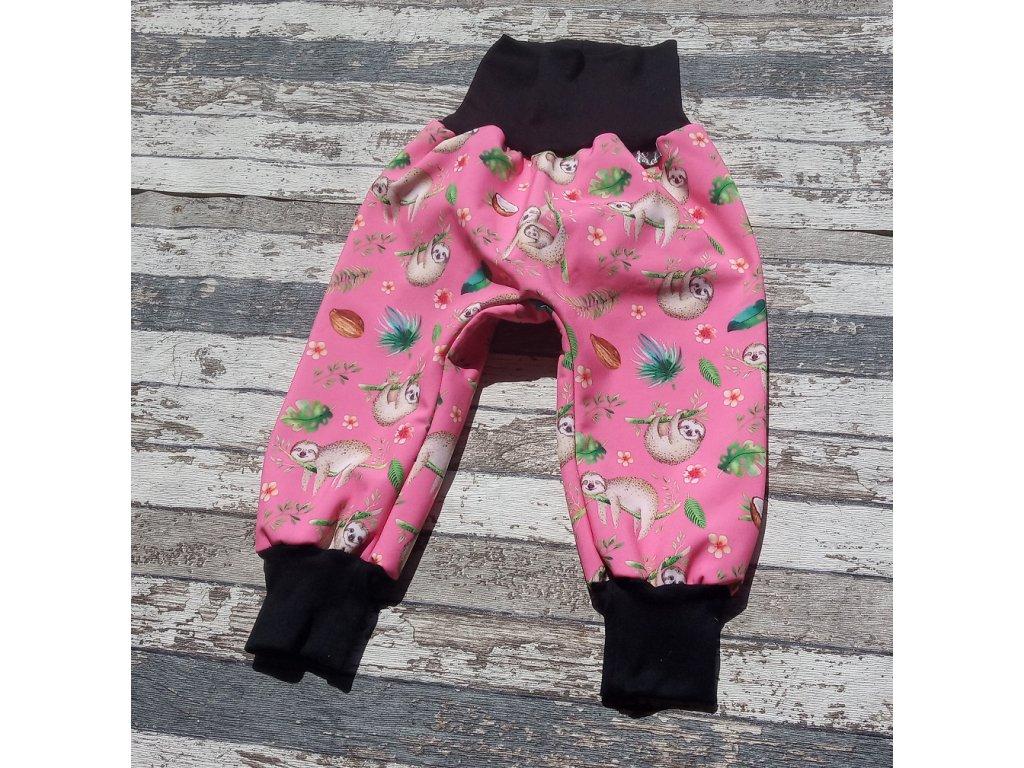 Zimní softshellové kalhoty Yháček, lenochodi na růžové/černá