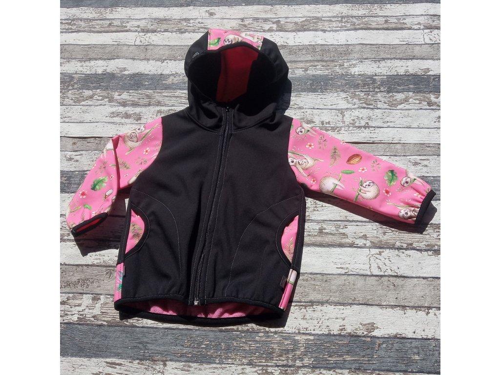 Softshellová bunda Yháček NEW, zimní, lenochodi na růžové