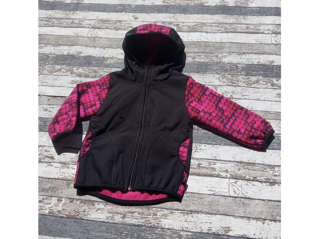 Softshellová bunda Yháček NEW, zimní, stavebnice fuchsiová