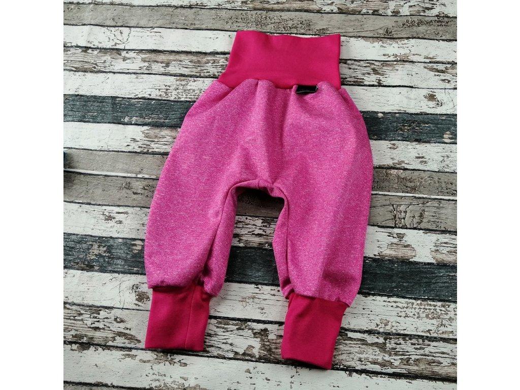 Softshellové kalhoty Yháček, letní, růžový melír/růžová