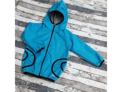 Softshellová bunda Yháček, podzim, mentolově modrá