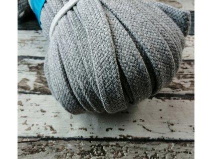 Šňůra plochá bavlněná, šedá 18 mm