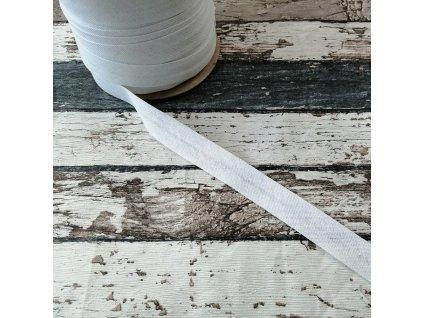 Bavlněný šikmý proužek, bílý, 18 mm