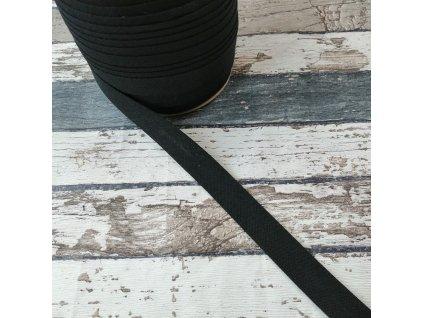 Bavlněný šikmý proužek, černý, 18 mm