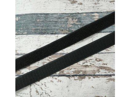 Suchý zip černý, 25 mm, komplet