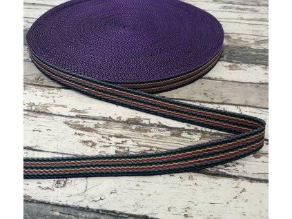 Popruh proužky na fialové 20 mm