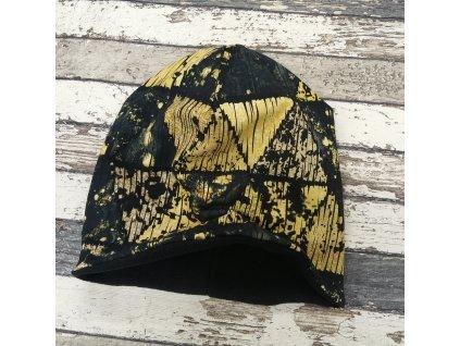 Šmoulí čepička Yháček, zlaté trojúhelníky, flís