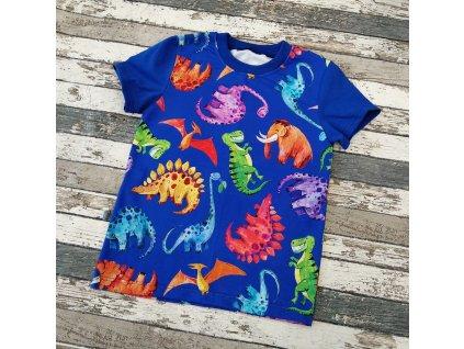Tričko s krátkým rukávem Yháček, Dinosauři na královsky modré
