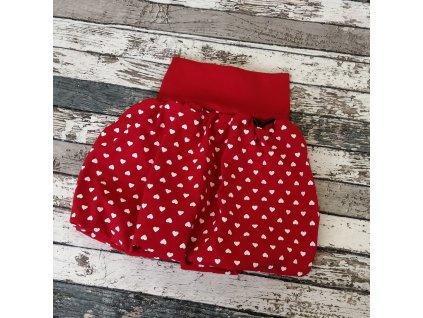 Balónová sukně Yháček, bílá srdíčka na červené